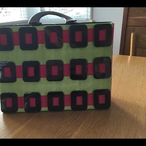 Green and Pink purse with black handles